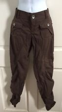 Miss Sixty Collection NEW! Taupe Brown Cotton Ruched Leg Skinny Cargo Pants 26