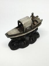 Chinese Silver Imported Junk Boat With Carved Wooden Stand Possibly Wang Hing