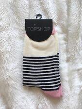 Topshop Socks Pink Cream Navy Blue Stripes - Chic - BNWT! ✨