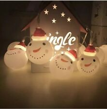 10 Snowman LED String Fairy Lights Battery Warm White Christmas Tree Decoration