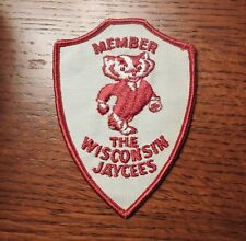 "Vintage 1970's Wisconsin Jaycees Embroidered Patch ""Bucky"" Badger  MINT"