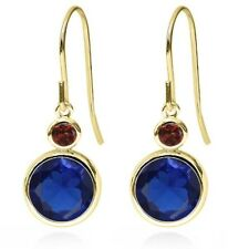 4.48 Ct Round Blue Simulated Sapphire Red Garnet 14k Yellow Gold Earrings