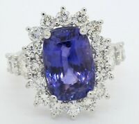 GIA heavy 18K WG 13.69CT VS diamond/No Heat Ceylon sapphire cocktail ring size 7