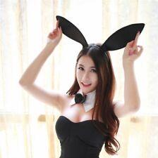 Black Sexy Playboy Satin Bunny Ear Headband Costume Party Favor Mask Kid Women