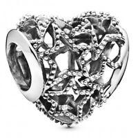 Openwork Heart & Beaded Stars PANDORA Charm 925er Sterlingsilber 798462C00
