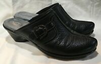 Softwalk Black Professional Comfort Shoe Clogs Mules Slip On Leather Sz 8 Wide