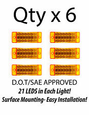 6 - Amber 21 LED Side Marker Clearance Light  Rectangle 12V Truck Trailer Camper