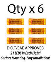 6 - Amber 21 LED Side Marker Clearance Light  Rectangle 12V Truck Trailer Camper