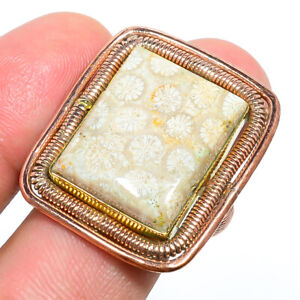 Fossil Coral - Australia Hand Crafted Wired Work Copper Ring s.9 F2546