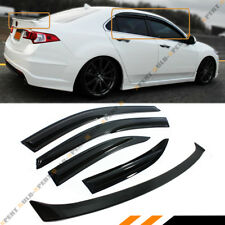JDM WAVY STYLE SMOKED WINDOW VISOR+TRUNK SPOILER FOR 2009-2014 ACURA TSX EURO R