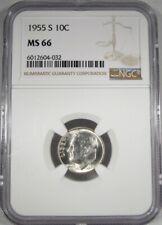 1955-S Silver Roosevelt Dime NGC MS66  AJ162