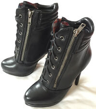 Madden Girl Zipper Black Leather Ankle Boots Heels Women's Stiletto Shoes 6 new