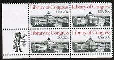 US #2004 20c Library of Congress MNH,OG Zip Block of 4 Stamps, 1982 y