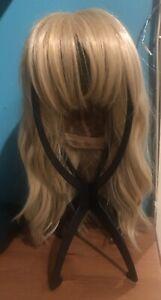 Medium to Light Blonde Human Hair Blend Wig with Bangs/Fringe