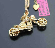 D560G     Betsey Johnson Skull Motorcycle Crystal Pendant Sweater Chain Necklace