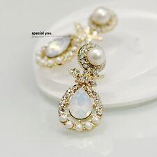 Boucles d'Oreilles Clip Pince NON Percée Blanc Cremeux Cristal Perle Goutte J2