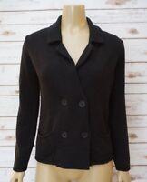 Hekla & Co Womens Small Sweater Knit Cardigan Jacket Black Merino Wool