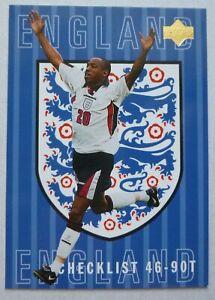 IAN WRIGHT UPPER DECK ENGLAND 1997 FOOTBALL CHECKLIST CARD