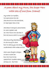 Personalised Mother's Day Gift Poem: Birthday Xmas. Mum, Mummy, Aunt, Gran