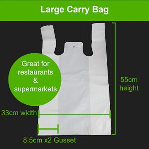 (Heavy Duty) Plastic Singlet Carry Bags Bulk White Grocery Shopping Checkout Bag