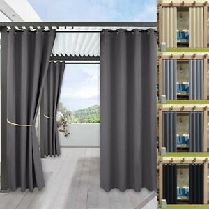 Outdoor Waterproof Curtains Pergola Patio Thermal Insulated Drapes Eyelet Home