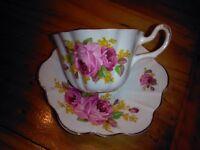Tea Cup & Saucer Royal Stuart Bone China Spenser Stevenson England Floral Set