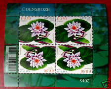 LATVIA 2016 Flora:  Water ROSE - Lily . MINI-SHEET,OF 4 STAMPS MNH