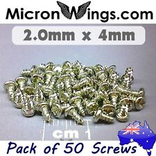 50 x Screws Self Tapping 2.0mm x 4mm Pan Head (304 Stainless Steel)