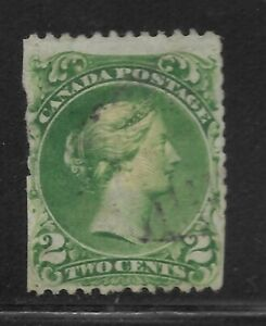 Canada stamp 24 Large Queen 1868 Victoria 2c Green USED(Q18)