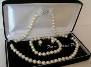 "16"" AAA+ Genuine 7-8mm White Pearl Necklace Bracelet 3pc Set Cultured Freshwater"