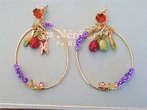 FRENCH BRAND - 14K GP, Crystal &  Enamel Olive & Lilac Large Hoop Prong Earrings