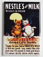 Brown Cat Milk FRIDGE MAGNET (2.5 x 3.5 inches) cream sign advertisement dairy