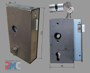 Stahl Kastenschloss 40 mit Profilzylinder, Schlosskasten LS+RS Gartentor Tür