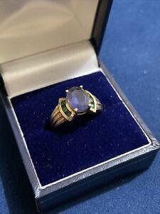 Vintage 10ct Gold Multi gemstone Ring
