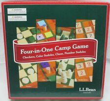L.L. Bean Four In One Camp Board Game Checkers Chess Sudoku All Wooden Complete