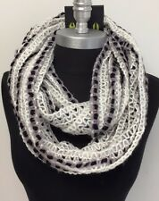 Women Winter knitted Crochet 2-Circle Cowl Infinity Scarf Wrap White/Black/Gray