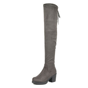 DREAM PAIRS Womens Thigh-High Ankle Zip Pull-on Over The Knee Low Heel Boots US