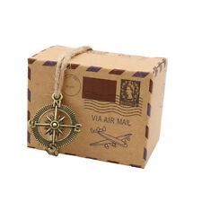 50pcs Mini Suitcase Wedding Favor Candy Box Vintage Kraft Paper Z