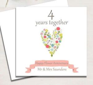 Personalised Flower 4th Wedding Anniversary Card