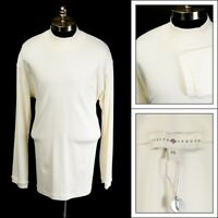$88 NWT JOSEPH ABBOUD Ivory Pima Cotton L/S Polo Neck Sweater Shirt 2XL
