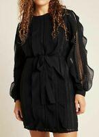 Anthropologie Daniel Rainn Women Elegant Little Black Ruffle Mini Dress S P NWT