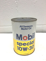 VINTAGE MOBIL SPECIAL OIL 1 QUART CARDBOARD CAN EMPTY 10W-30 B