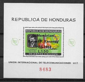 HONDURAS , ITU , KENNEDY , SPACE , 1968 ,  SOUVENIR SHEET O.P.  PERF , MNH,CV$6