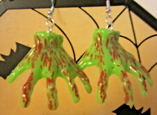NORA WINN Bloody Green Monster Hand 925 Earrings scary Halloween GIFT