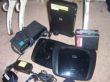 """Electronic """"LOT AS IS"""" 3 cell phones cables remotes 2 modems 3 routers cisco LG"""