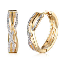 18K Gold Plated Channel Set Cubic Zirconia Elegant Hoop Latch Back Earrings