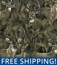 Deer In The Forest Fleece Fabric - Sold by Yard & Bolt - #24524 - Free Shipping