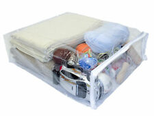"Clear Vinyl Plastic Zippered Blanket Storage Bags 15"" x 18"" x 5"" 5-Pack"