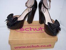 Size 7 black patent platform block heel sandals from Schuh