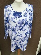 RARE Chico's Gossamer Floral Slub Tee Top Purple Blue White 3 XL 16 18